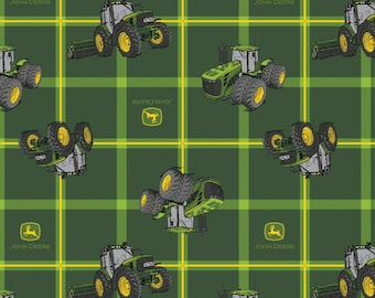John Deere Fabric Green Tractor Plaid Fabric From Springs Creative 100% Cotton