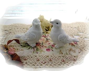 2 Shabby Cottage Chic  White Bird Figurines-So Sweet