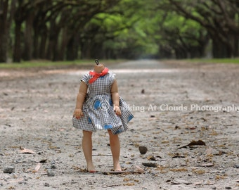 creepy doll art photo, Avenue Of The Oaks, headless doll on a journey, creepy cute