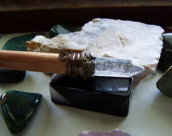 Quartz Crystal Pyrite Gemstones Neem Wood Wand