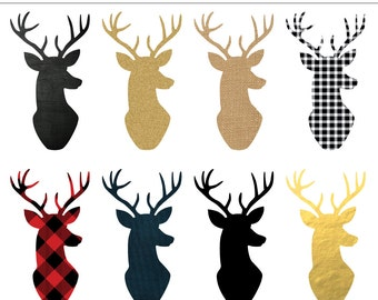 Deer Head Silhouette Digital Clipart - 8 Pieces for Personal & Commercial Use - INSTANT DOWNLOAD