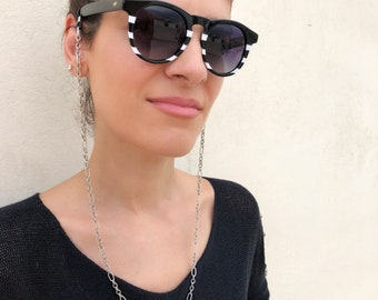 Silver Glasses Chain, Sunglasses Chain, Laces for Sunglasses,Sunglasses Chain Necklace, Sunglass Holder, Gift for Her (CHRISTI-LACES)