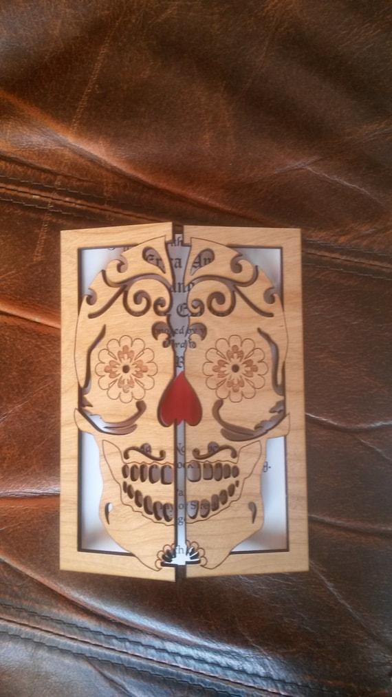 Sugar skull wedding invitation 100/ wood wedding invitation/