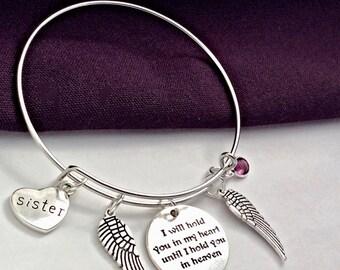 Women's Bereavement Bracelet, Girls Bereavement Gift, Silver Remembrance Jewelry, Personalized Memorial Bracelet, Family Memorial Bangles