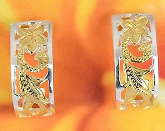 Hawaiian Heirloom Earring, Sterling Silver 2 Tone Plumeria Maile Leaf Scroll Barrel Stud Post Earring, E4226, Wedding Birthday Anniversary