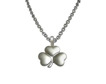 Silver Toned Shamrock Clover Pendant Necklace
