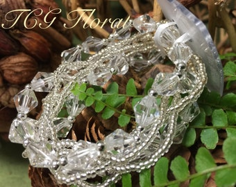 Corsage Bracelet - Innocence Glass Beaded - Dazzle