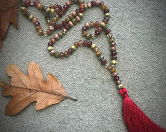 Rose Water Mix Beaded Tassel Mala Inspired Necklace