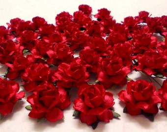 """25 Paper Flowers (Size 1"""") Mulberry Paper Craft flower, Paper flower craft wedding, Wedding, Events, Bouquets and Crafts, Red Paper Roses."""