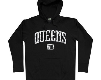 Queens 718 Hoodie - Men S M L XL 2x 3x - Queens Hoody Sweatshirt - NYC - New York City - 4 Colors