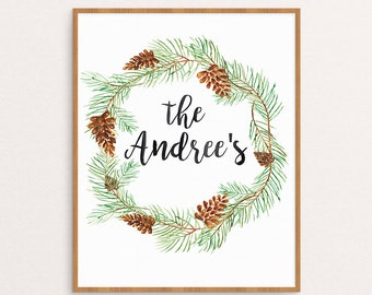 Personalized Name Christmas Wall Art Holiday Wreath Pine Branches