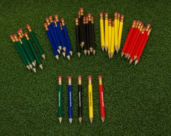 8 Pack of Custom Printed Golf Pencils - 5 Colors Available