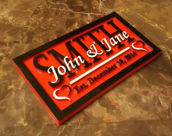 Personalized Couple's Wedding & Anniversary Sign / Plaque ( Valentine's Day Gift )