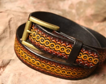"Hand Tooled Belt --  1 1/2"" Leather  Belt -- Hand Stamped Belt -- Mens Womens -- Cowhide Belt -- Made in the USA!"