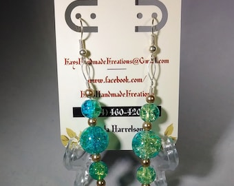 Handmade green and blue wire earrings