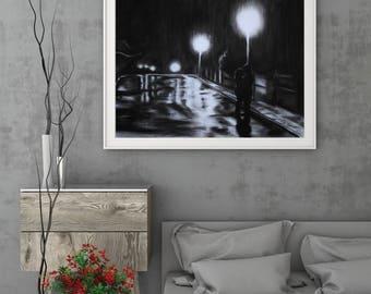 Kiss in the Rain, bucket list item original charcoal drawing by Allison Muldoon/A57art