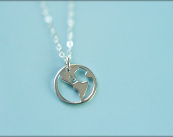 Globe Cutout Necklace in Sterling Silver