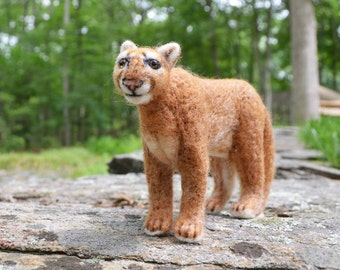 Meelon the Mountain Lion, needle felted animal wool art sculpture