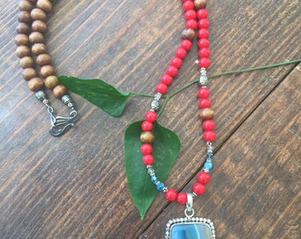 Gemstone and Wood Bead Necklace