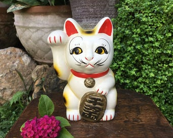 Japanese Tokoname Porcelain Figurine 招き猫 Maneki Neko Beckoning Cat Good Luck Charm Coin Bank Okimono