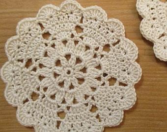 set of 2 off-white mini-napperons/coasters crochet diameter 8 cm