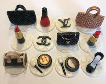 Designer bags, shoes and makeup cupcake toppers