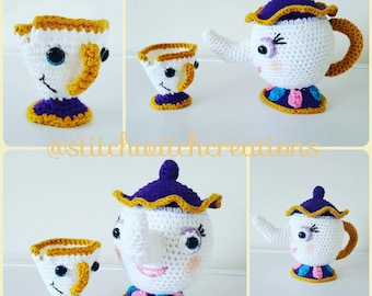 MRS POTTS and CHIP - Beauty and the Beast Inspired Crochet Pattern - Amigurumi Pdf Instant download