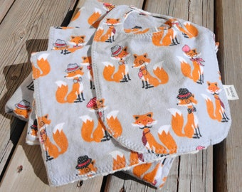Baby Gift Set: Baby Blanket, Bib, Burp Cloth - Dapper Fox