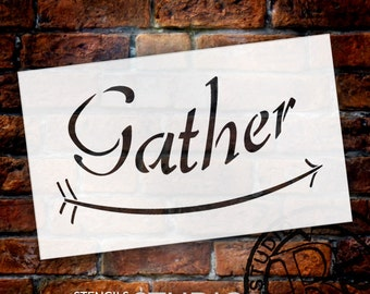 Gather - Curved Arrow - Word Art Stencil - Select Size - STCL1816 - by StudioR12