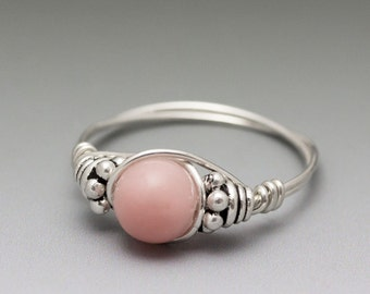 Peruvian Pink Opal Bali Sterling Silver Wire Wrapped Gemstone Bead Ring - Made to Order, Ships Fast!