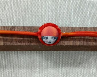 Orange flapper girl choker
