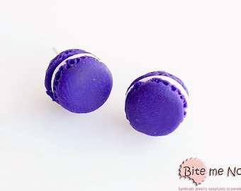 Purple Macarons Studs Earrings, Macaron Earrings, French Macaron Posts, Polymer Clay Food Earrings, Macaron Jewelry, Miniature Food Jewelry,