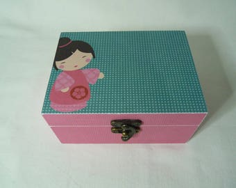 """Box wooden double compartments """"little kokeshi"""""""