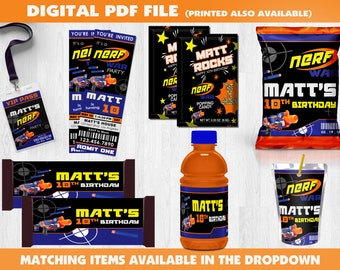 Dart Gun Birthday Party - Digital File - Dart Gun War Party Invite - Dart Gun Favor - Custom Party Favors - Capri Sun Label - Gatorade