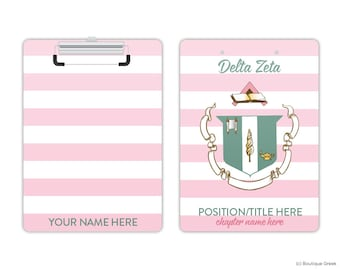 DZ Delta Zeta Striped Crest Sorority Personalized Clipboard