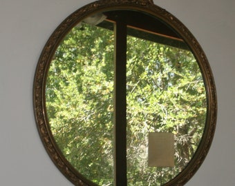 Beautiful Antique Round Mirror/Looking Glass in Gold Ornate Frame