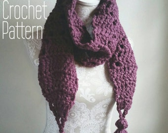 Crochet Pattern for Chunky Scarf with BIG Tassels! Chunky crochet scarf pattern, scarf with tassels, Scarf Pattern, Beginner crochet pattern