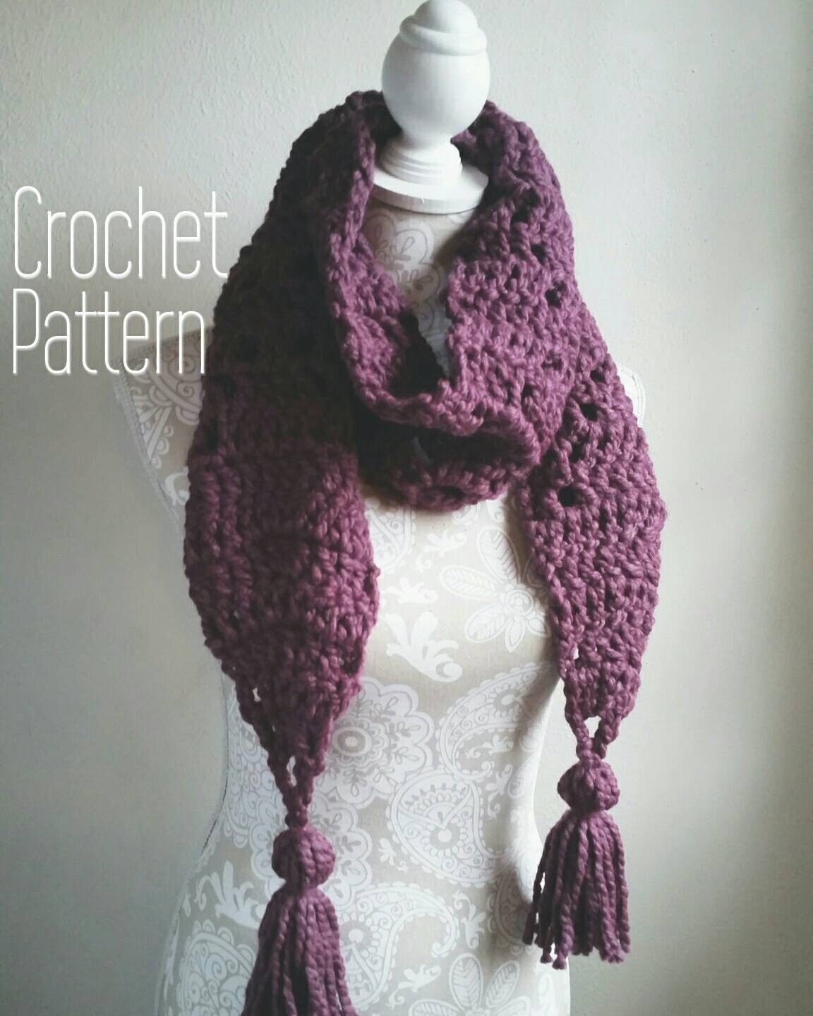 Crochet Pattern for Chunky Scarf with BIG Tassels! Chunky crochet ...
