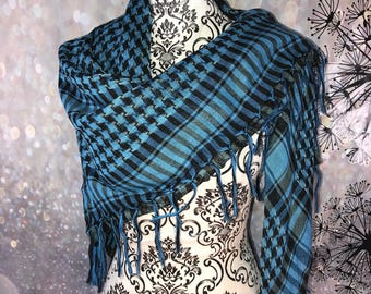 Blue and black large shawl wrap scarf
