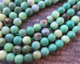 Green Moss Opal faceted round 6mm beads beautiful colors of aqua, apple green, teal, turquoise and brown half strand M102