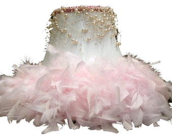 Lamp shade pearls etsy white table lamp shade with pink feathers aloadofball Image collections