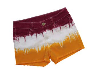 Deep Red + Bright Gold Tie-Dye Shorts