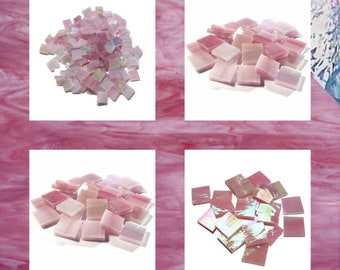Raspberry Pink Iridized Squares Stained Glass Mosaic Tiles Wispy Hand Cut