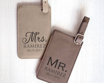 Pair (2) Personalized Mr. & Mrs. Luggage Tags: Custom Wedding Luggage Tags, Bride Groom Luggage Tags, Personalized Mr. Mrs. Gift, SHIPS FAST