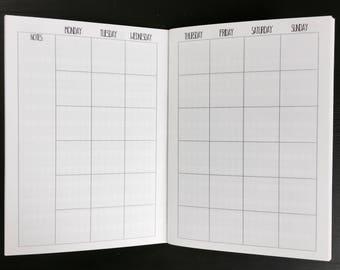MONTHLY + HABIT B6 TN Inserts // Printed Monthly Calendar + Habit Tracker //Traveler's Notebook Planner