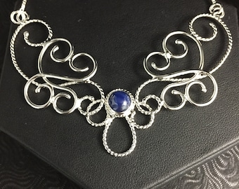 Bohemian Elvish Necklace with 8mm Blue Star Sapphire, Renaissance Wedding, Victorian Necklace in Sterling Silver, Alternative Bridal Jewelry