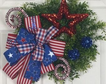 Patriotic Wreath, Summer Wreath, Small Wreath, Americana Wreath, 4th of July Wreath