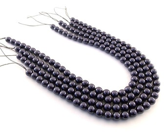 Beads Dark Purple Glass Pearls 4mm