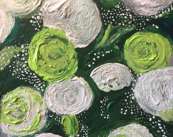 Original beautiful green bouquet of roses, acrylic painting