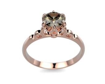 14k Rose Gold Smoky Quartz Ring Rose Gold Engagement Ring Gold Smoky Quartz Ring Smoky Quartz Engagement Ring Smoky Topaz Engagement Ring